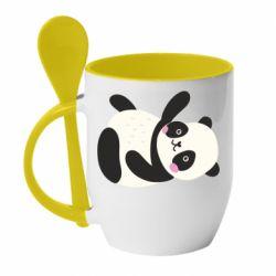 Кружка с керамической ложкой Little panda