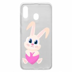 Чехол для Samsung A20 Little rabbit with a heart