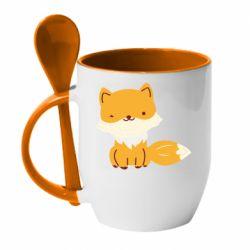 Кружка с керамической ложкой Little red fox
