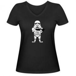Женская футболка с V-образным вырезом Little Stormtrooper - FatLine