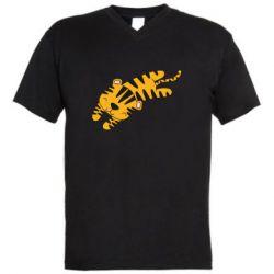 Мужская футболка  с V-образным вырезом Little striped tiger
