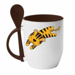 Кружка с керамической ложкой Little striped tiger