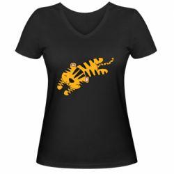 Женская футболка с V-образным вырезом Little striped tiger