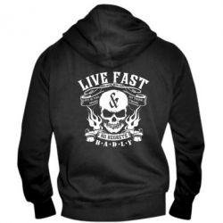 Мужская толстовка на молнии Live Fast and No Regrets Badly - FatLine