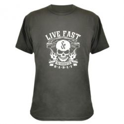 Камуфляжная футболка Live Fast and No Regrets Badly - FatLine