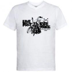 Чоловіча футболка з V-подібним вирізом Live fast