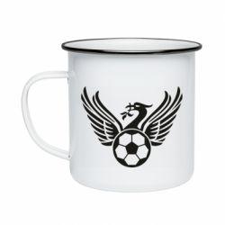Кружка емальована Liverpool and soccer ball