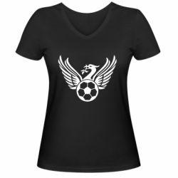 Жіноча футболка з V-подібним вирізом Liverpool and soccer ball