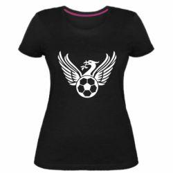 Жіноча стрейчева футболка Liverpool and soccer ball