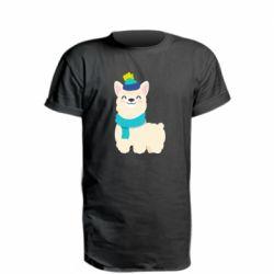 Удлиненная футболка Llama in a blue hat