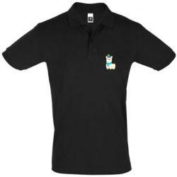 Мужская футболка поло Llama in a blue hat