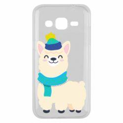 Чехол для Samsung J2 2015 Llama in a blue hat