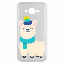 Чехол для Samsung J7 2015 Llama in a blue hat