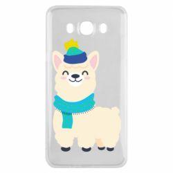 Чехол для Samsung J7 2016 Llama in a blue hat