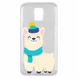 Чехол для Samsung S5 Llama in a blue hat
