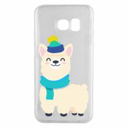Чехол для Samsung S6 EDGE Llama in a blue hat