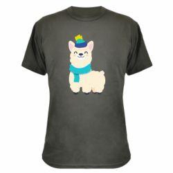 Камуфляжная футболка Llama in a blue hat