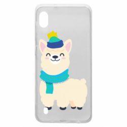 Чехол для Samsung A10 Llama in a blue hat