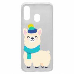 Чехол для Samsung A40 Llama in a blue hat