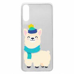 Чехол для Samsung A70 Llama in a blue hat