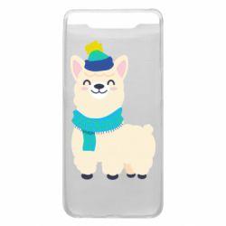 Чехол для Samsung A80 Llama in a blue hat