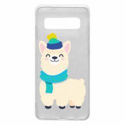 Чехол для Samsung S10 Llama in a blue hat