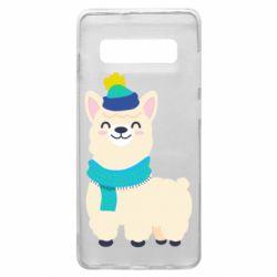Чехол для Samsung S10+ Llama in a blue hat