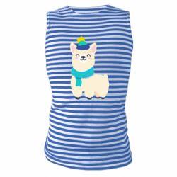 Майка-тельняшка Llama in a blue hat