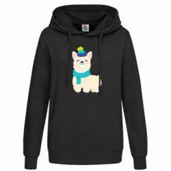 Женская толстовка Llama in a blue hat