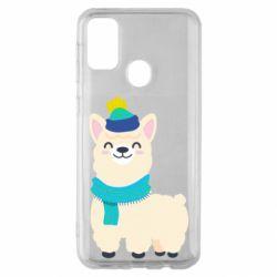 Чехол для Samsung M30s Llama in a blue hat