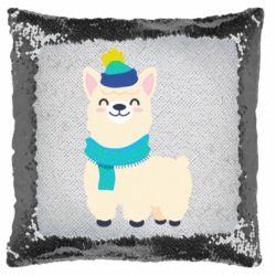 Подушка-хамелеон Llama in a blue hat