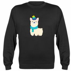 Реглан (свитшот) Llama in a blue hat