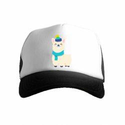 Детская кепка-тракер Llama in a blue hat