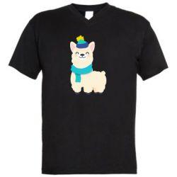Мужская футболка  с V-образным вырезом Llama in a blue hat