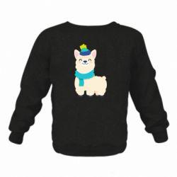 Детский реглан (свитшот) Llama in a blue hat