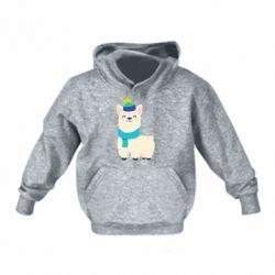 Детская толстовка Llama in a blue hat