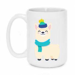 Кружка 420ml Llama in a blue hat