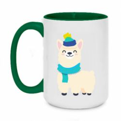 Кружка двухцветная 420ml Llama in a blue hat