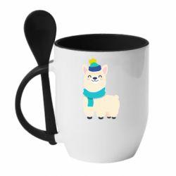 Кружка с керамической ложкой Llama in a blue hat