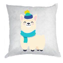 Подушка Llama in a blue hat