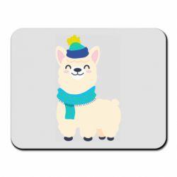 Коврик для мыши Llama in a blue hat