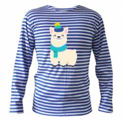 Тельняшка с длинным рукавом Llama in a blue hat