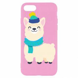 Чехол для iPhone 7 Llama in a blue hat