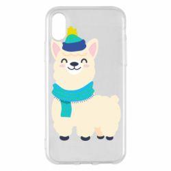 Чехол для iPhone X/Xs Llama in a blue hat