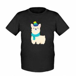 Детская футболка Llama in a blue hat