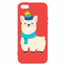 Чехол для iPhone5/5S/SE Llama in a blue hat