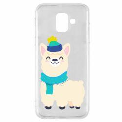 Чехол для Samsung A6 2018 Llama in a blue hat