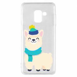 Чехол для Samsung A8 2018 Llama in a blue hat