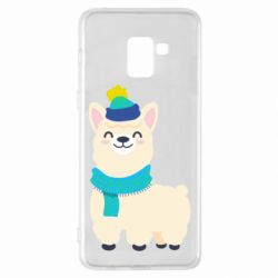 Чехол для Samsung A8+ 2018 Llama in a blue hat