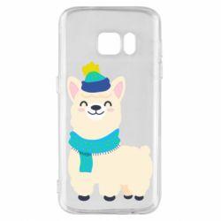 Чехол для Samsung S7 Llama in a blue hat